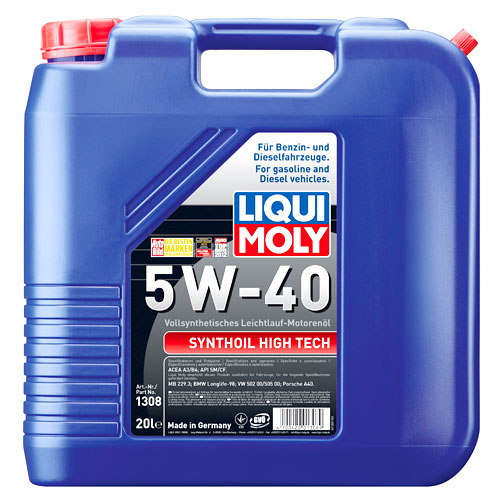 liqui moly synthoil high tech 5w 40 20 liter kanister. Black Bedroom Furniture Sets. Home Design Ideas